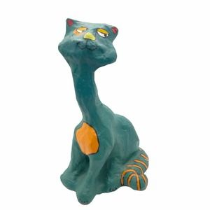 Vintage Papier Mache Funky Kitsch Cat Sculpture